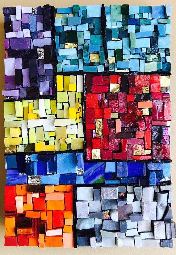 Mondrian Square Mosaic Art wall art home decor art