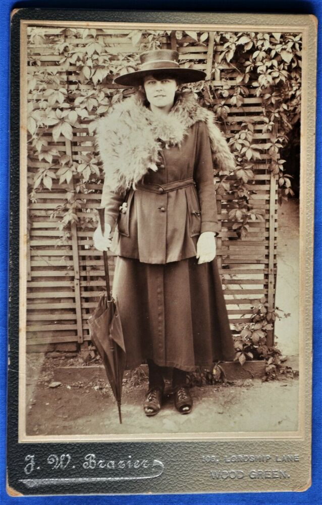 Cabinet Photo Woman Hat Stole Umbrella Brazier Wood Green London Uk 1890s Hats For Women Women Photo