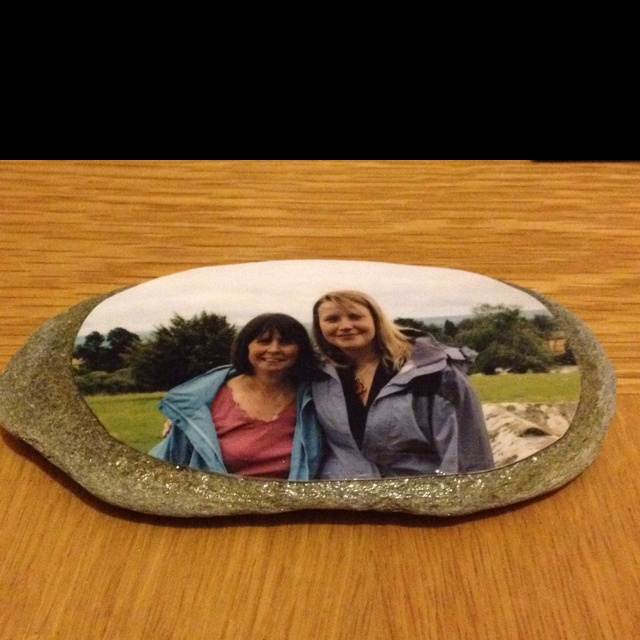 A Memory Stone I made to go in with my little rockery in the garden. Made with a pebble, a photo and some mod-podge!