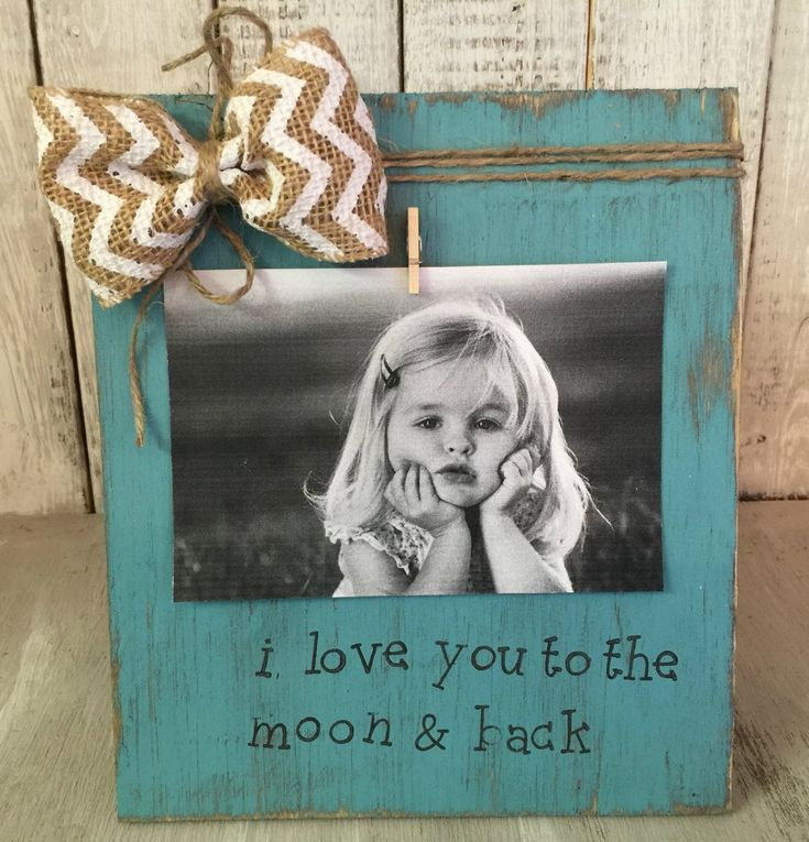 Love You to the Moon and Back Picture Frame / Personalized Rustic Picture Frame / FREE shipping
