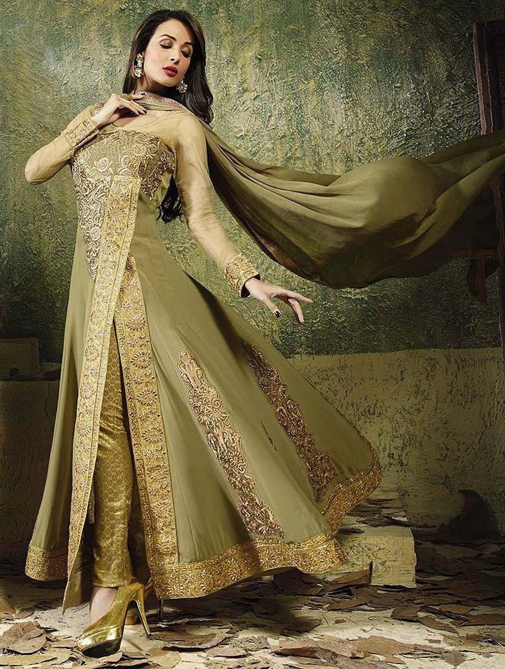 Malaika Arora - Light Mehendi & Golden Zari Embroidered Salwar Suit