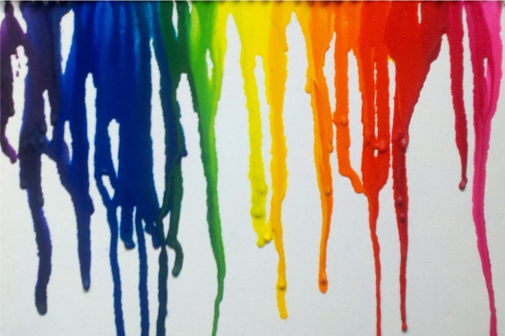 """hot glue some crayons to the top of the canvas.  (two boxes of 24 Crayolas) use a heat gun to melt the crayons and use them as """"paint""""    I set the canvas on top of some newspaper and leaned it against the wall."""