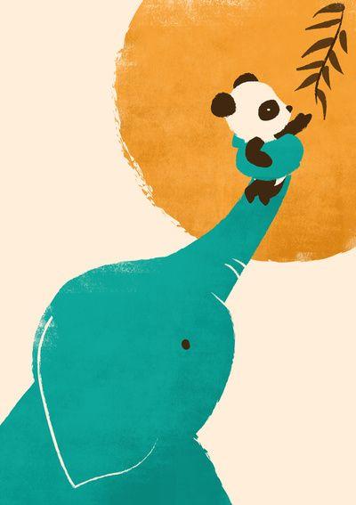 Kinderzimmer-Poster: Elefant & Panda