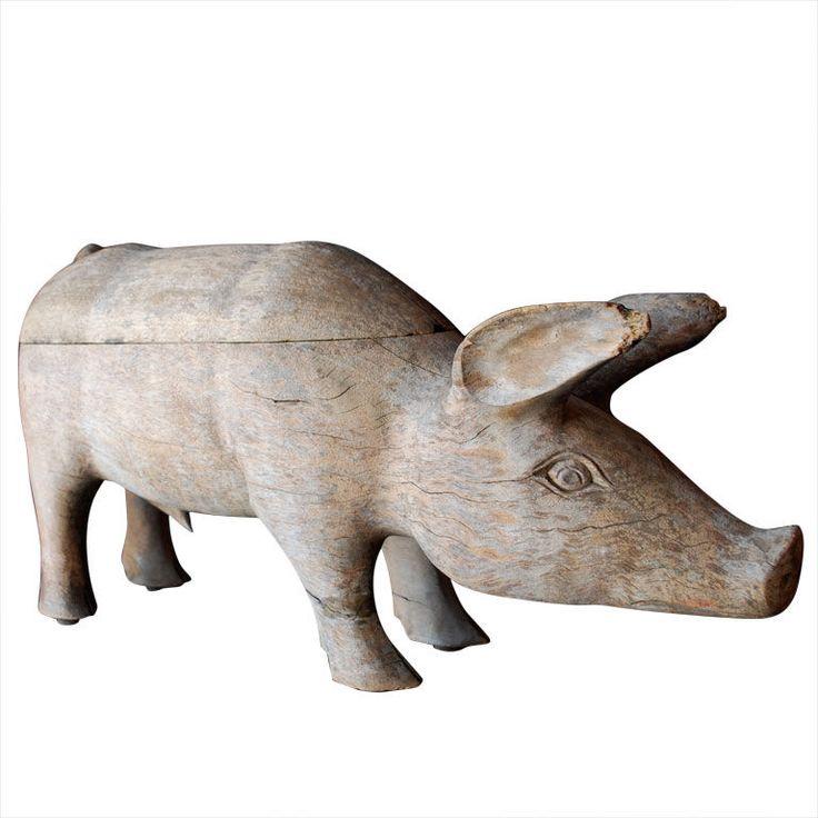 1930's American Folk Art Wood Pig  USA  1930'S  HAND CARVED, PRIMITIVE 1930'S AMERICAN FOLK ART WHITE OAK PIG.  Price  $2,200