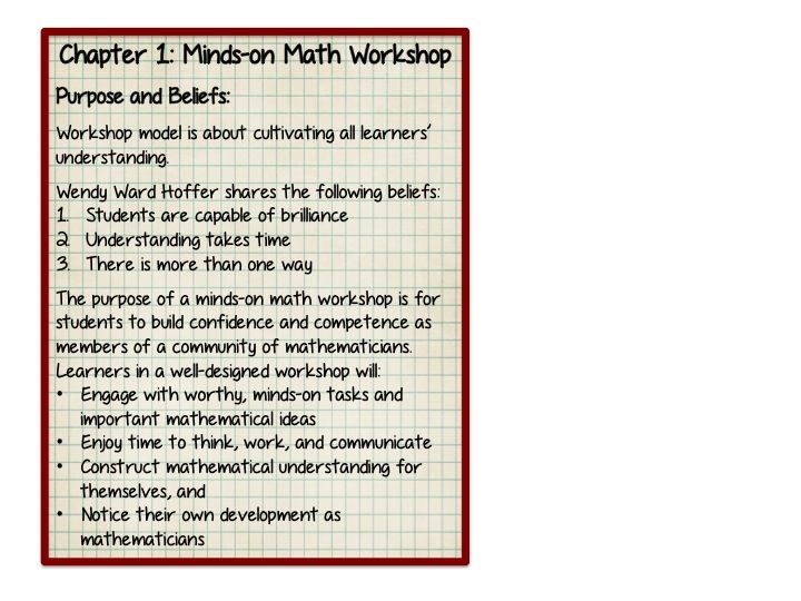 """Middle School Math Rules!: Minds on Math Book Study-Chapter 1 """"Minds on Math Workshop"""""""