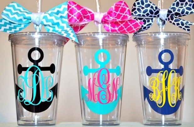 GroopDealz | Monogrammed Anchor Tumblers - Add Hebrews 6:19 to the other side and these are perfect!