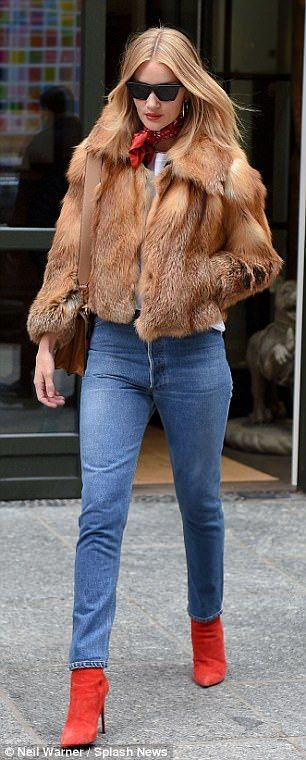 Look Faux real in Nili Lotan like Rosie #DailyMail Click 'Visit' to buy now #fashionweek #celebritystyle #fauxfur #frontrow