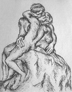 #sketch of The Kiss by Rodin