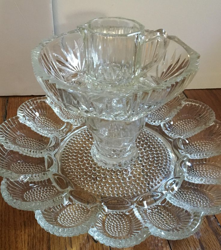 Refurbished Deviled Egg Dish and 3 other Vintage Glass Pieces for Organizing Earrings & More by AnnesDishArt on Etsy
