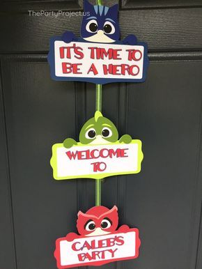 PJ Masks Door Sign! - Catboy, Owlette, and Gekko are here to welcome guests to your little hero's birthday party with this exclusive personalized PJMasks door banner! ----- Whether you are planning a PJMasks birthday or a super pajama party, this adorable welcome sign will make your special celebration stand out!