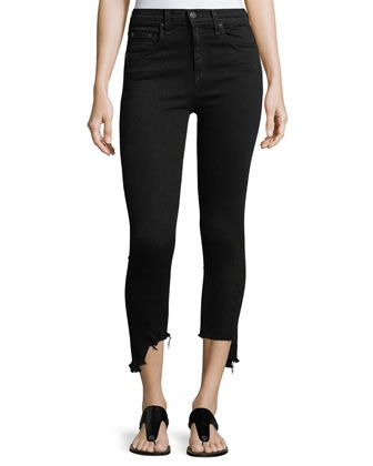 "High-Rise+10""+Capri+Jeans+w/+Destroyed+Hem+by+rag+&+bone/JEAN+at+Neiman+Marcus."