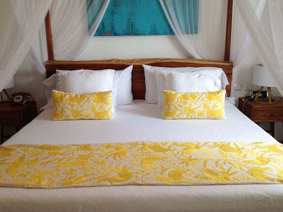 OTOMI BED RUNNER  Yellow by YucuNinu on Etsy