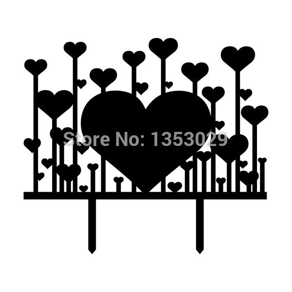 Free Shipping Black/ White Romantic Heart Wedding Cake Topper Acrylic Cake Stand Wedding Favor Gifts Engagement Cake Decoration
