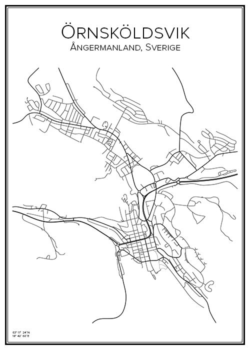 Örnsköldsvik. Sverige. Karta. City print. Print. Affisch. Tavla. Tryck.
