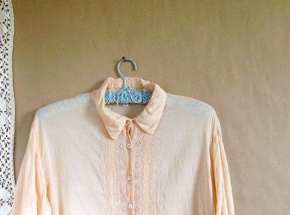 vintage 1960s blouse / 60s blouse / Peach Sherbet 60s cotton pastel blouse