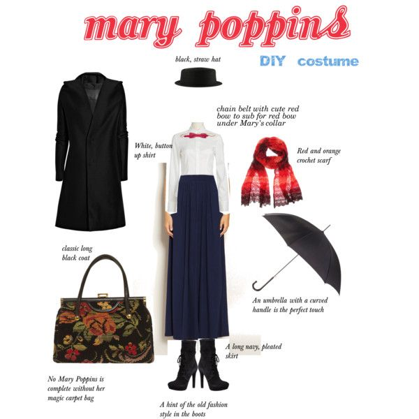 """""""Mary Poppins DIY Costume"""" close, but the blouse and shoes are wrong.  Also, you'd need a daisy or a fake one, for the hat."""