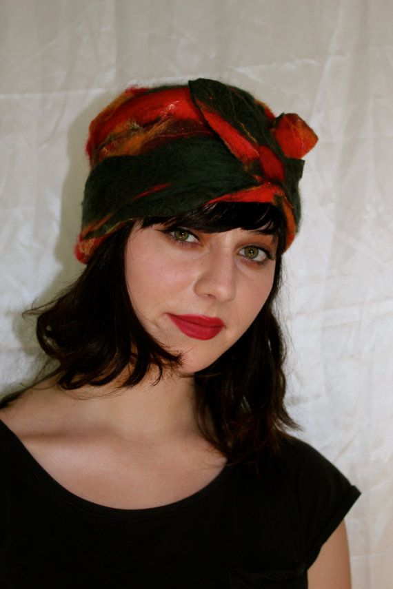 Felted  Hat.  Red and Green  Felted  Winter Hat by MindfulPresents