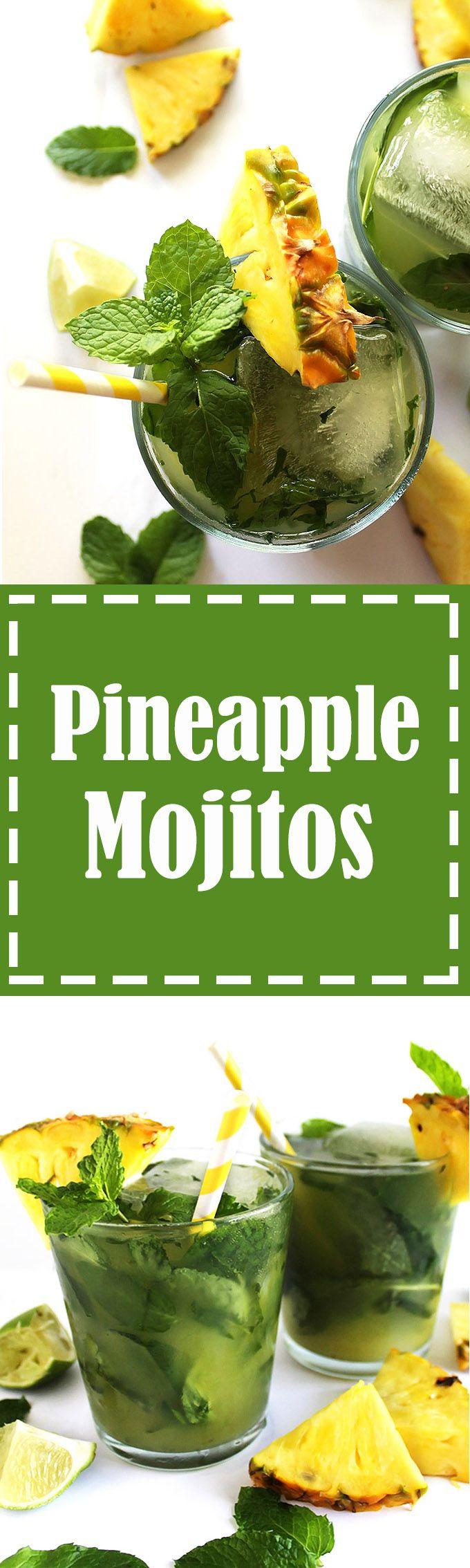 Pineapple Mojitos - Refreshing mojitos that are slightly sweet, heavy ...