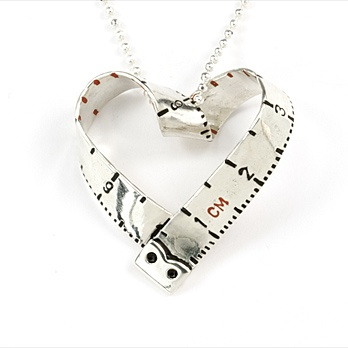 i heart tape measure necklace by Victoria Mason   ///   So cute and crafty, centimeters on the outside, inches on the inside.