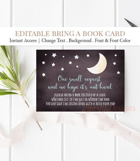 Baby Boy Moon And Stars Book Instead Of Card Printable Loved Etsy Baby Shower Invites For Girl Baby Shower Invitation Templates Shower Invitations Free