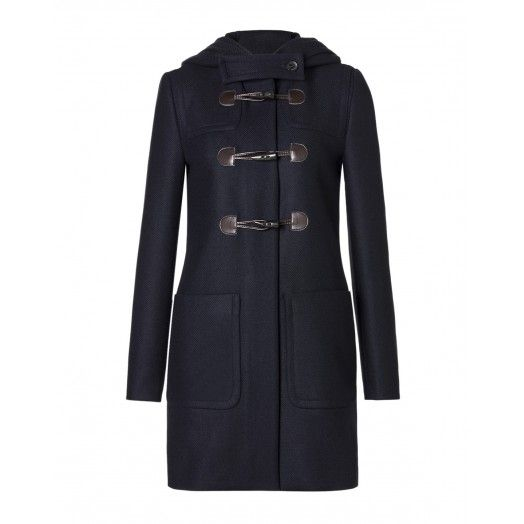 Hooded duffle coat, medium length, made of woolen cloth, inner lining, External closure with zip and fasten.