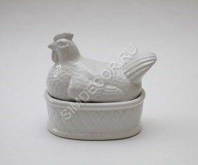 Шкатулка керамическая Курица белая
