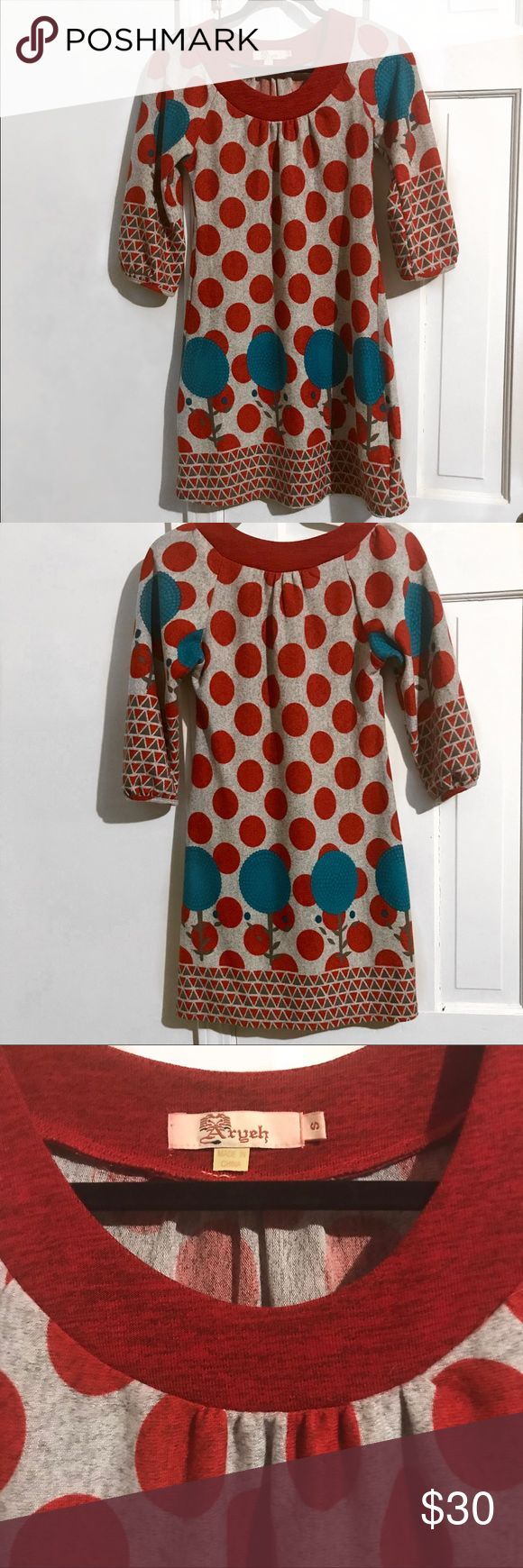 Aryeh | Anthropology Dress | Small | Gray Red Teal Aryeh | Anthropology Dress   Small  Gray background accented with Red & Teal  Perfect Condition!  BUNDLE✨OFFER✨SAVE Anthropologie Dresses