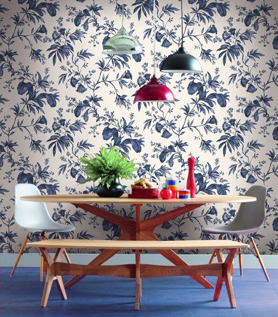 Empapelado - Flores azules - Papel de parede
