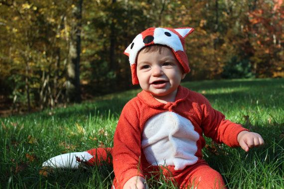 Size 6-12m Rusty Red Fox Baby Onesie Costume with Hat - Lil' Creatures