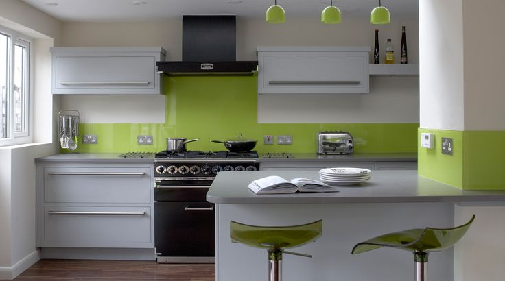 Modern Kitchen In Green Color Inspirations : Amusing White Lime Green Kitchen Decor with Kitchen Island and Grey Countertop also Twin Lime Green Bar Stool
