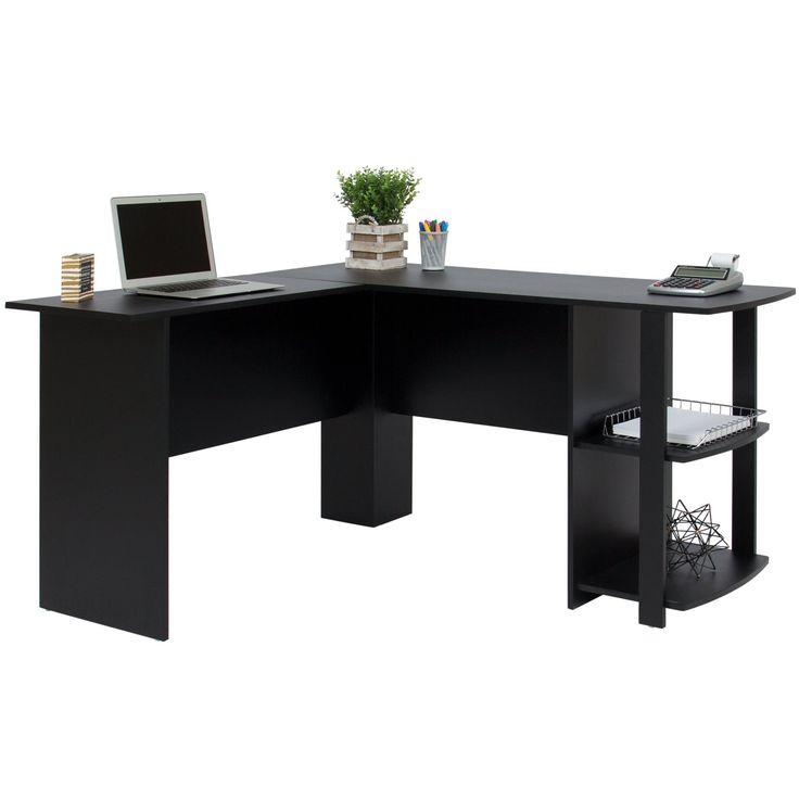 L-Shaped Corner Computer Office Desk - Black