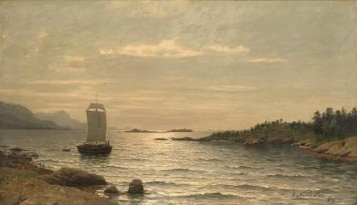 Adelsteen Normann - Sailing ship in coastal landscape