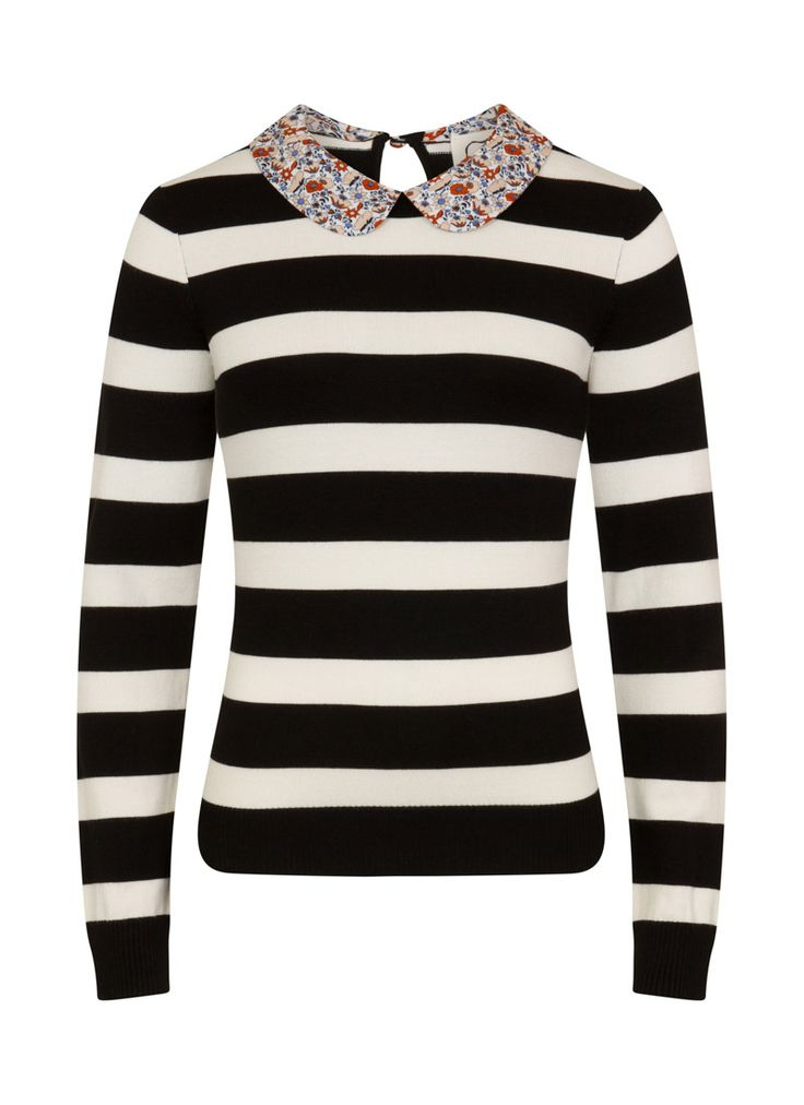 The Elizabeth Peter Pan Collar Stripe Jumper is a soft knit with a ditsy print floral collar and a bold black and white stripe.