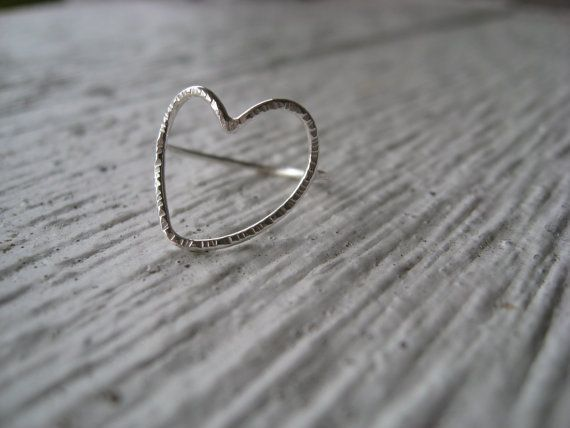 Halo  Sterling silver hollow heart ring by jenellisdesigns on Etsy