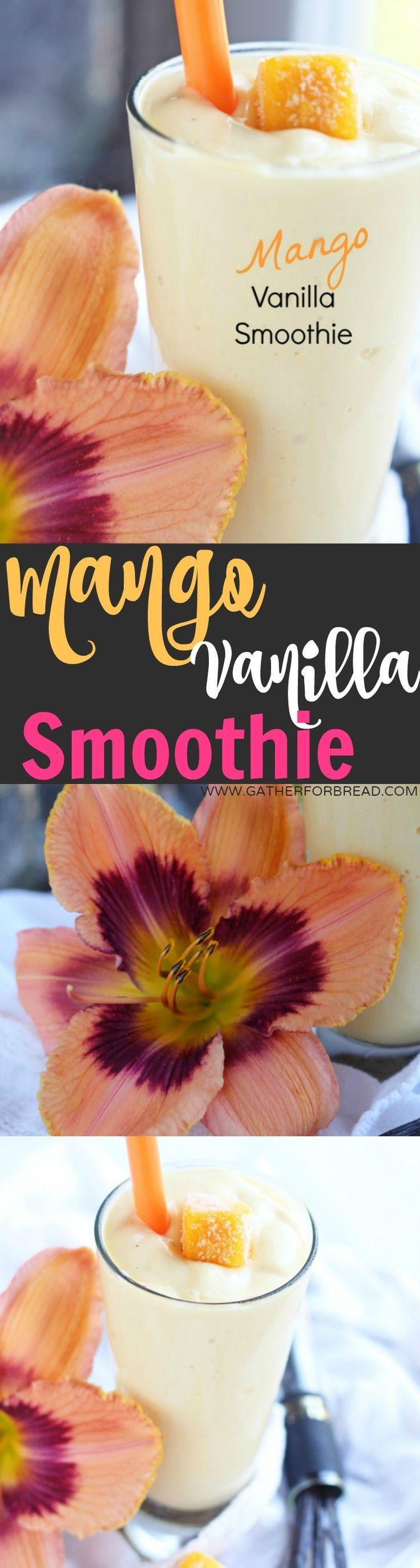 Mango Vanilla Smoothie - Healthy mango smoothie made with Greek yogurt, vanilla and frozen mango. Only 4 ingredients! Delicious protein for breakfast or snack.