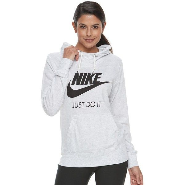 Women's Nike Sportswear Vintage Long Sleeve Graphic Hoodie ($60) ❤ liked on Polyvore featuring tops, hoodies, light grey, pattern hoodie, graphic hoodie, print hoodies, hooded pullover and long sleeve tops