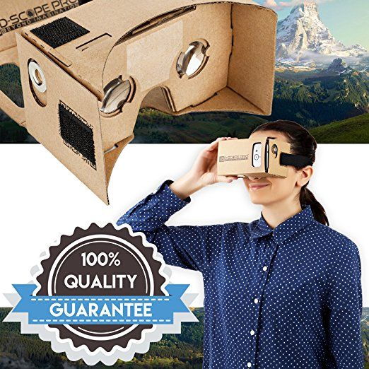 Amazon.com: D-scope Pro Google Cardboard Kit with Straps 3D Virtual Reality Compatible with Android & Apple Easy Setup Instructions Machine Cut Quality Construction 45mm Lenses HD Visual Experience: Home Audio & Theater