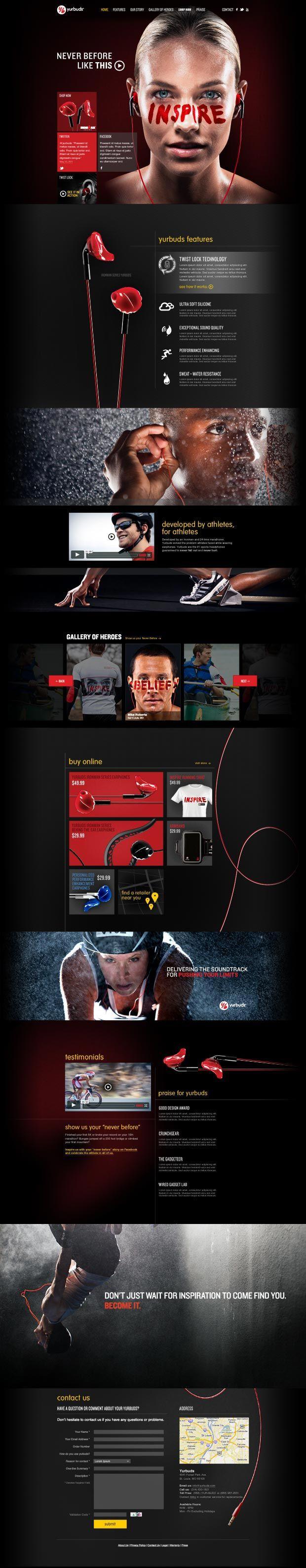 Website Design for Consumer Electronics Brand Yurbuds / Parallax Scroll