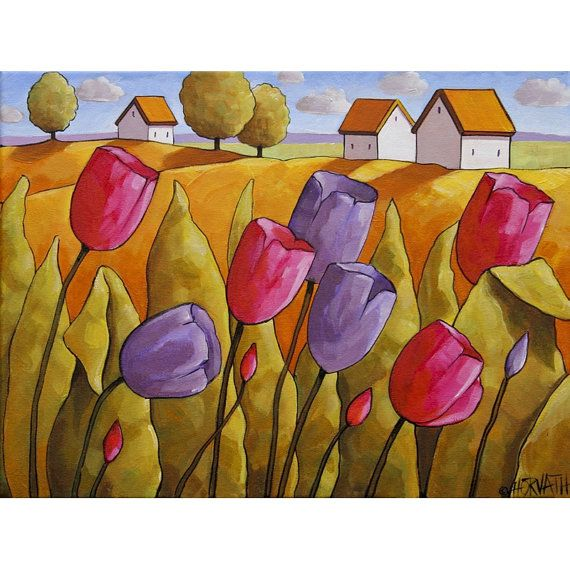 Fine art print reproduction, bright pink & purple spring tulips, yellow fields & cottages, featuring vibrant colors in a modern abstract folk