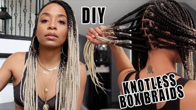 Doing My Own Knotless Box Braids Ombre Ash Blonde Braiding Hair