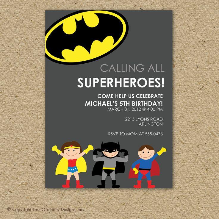 Batman super hero birthday party invitation . Sooooo getting these for Nolans bday!!!!