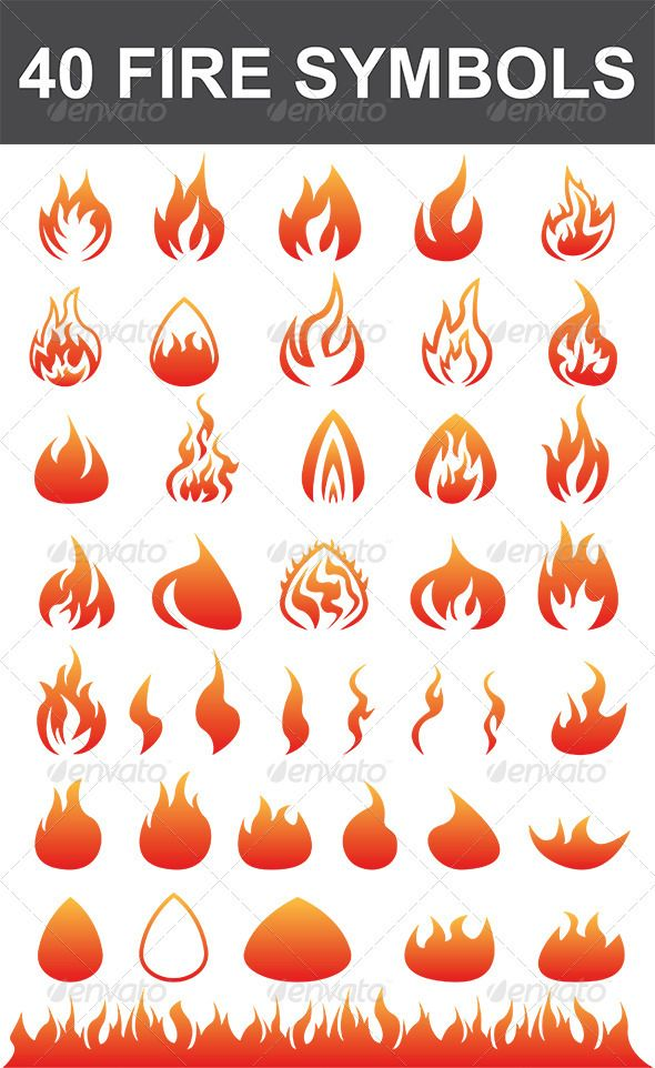40 Fire Symbols - Decorative Vectors