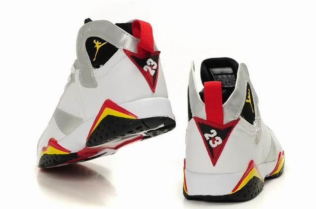 air jordans 7 retro white silver black red yellow 88.99
