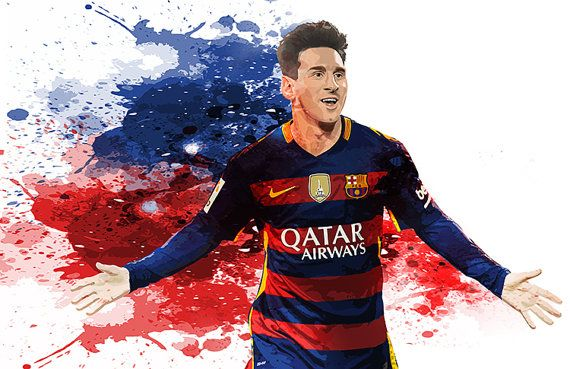 Lionel Messi FC Barcelona Poster, Lionel Messi Art, Poster Lionel Messi, Digital Download