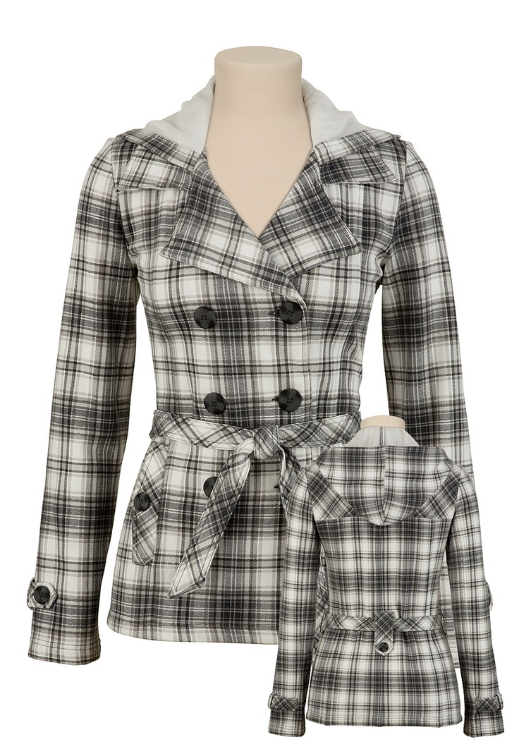 Maurices Hooded Plaid Trench Coat