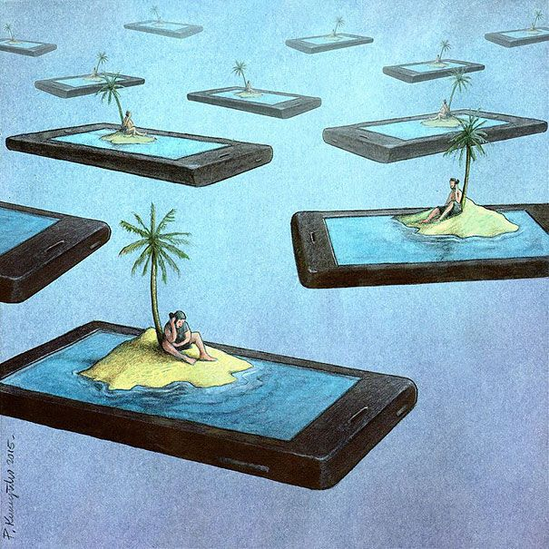 Art is often a mirror, reflecting the social issues and problems of the day. With the rise of ubiquitous Internet, smart phones, and other Internet enabled devices, being online all the time is not only possible, it's the de facto state for many. This list of satirical illustrations highlight some of the biggest problems with technology addiction. Which one has the strongest message? Vote on your favorite, or if we've missed an image that you think should be in this list, upload it below!