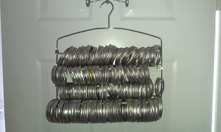 Using a hangar to store canning jar rings. SBCanning on Facebook