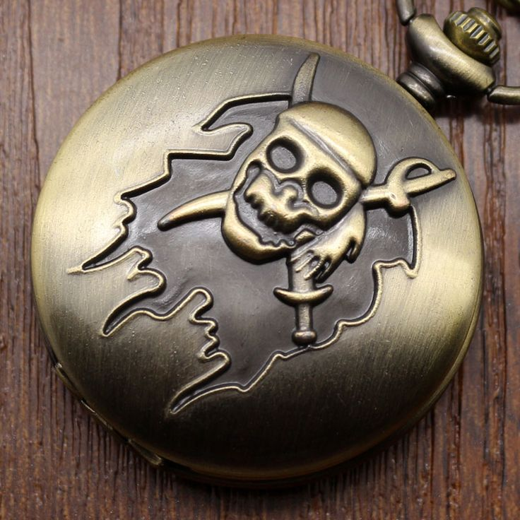 Hot Steampunk Bronze Pirate Skull Watch Pocket Necklace Pendant Gift for Men Women Pocket watch Free Shipping relogio de bolso