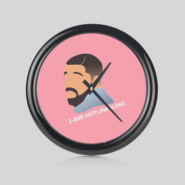 Drake Hotline Bling Hip Hop 1-800 Music Round Wall Clock Bedroom Kitchen Home