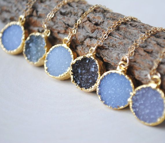 Hey, I found this really awesome Etsy listing at https://www.etsy.com/listing/152912305/druzy-necklace-gold-druzy-necklace-round
